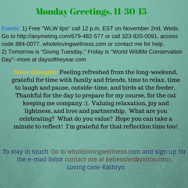 Monday Greetings, 11-30-15