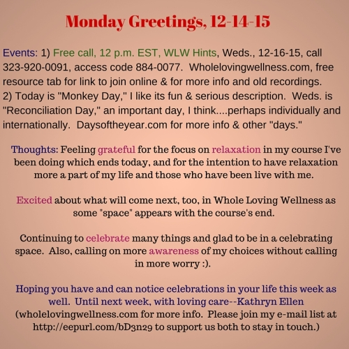 Mon Greetings 12-14-15