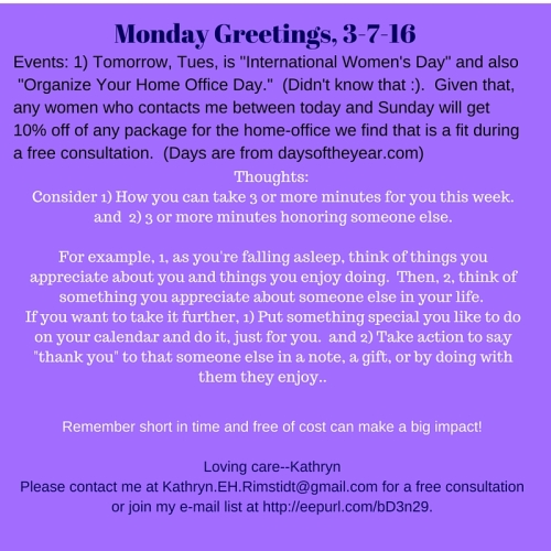 Mon Greetings 3-7-16