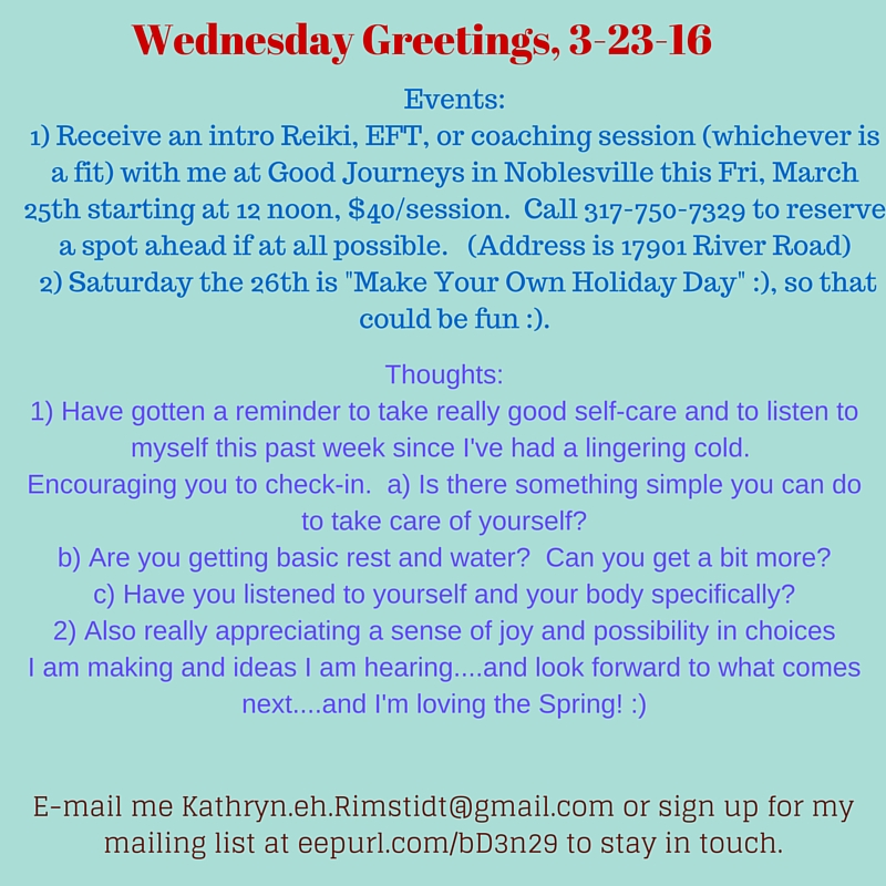 Weds Greetings, 3-23-16