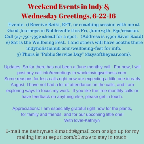 Weekend Events in Indy & June 22nd Greetings